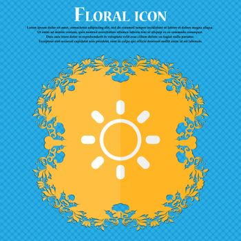 Brightness icon sign. Floral flat design on a blue abstract background with place for your text. Vector
