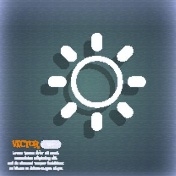 Brightness icon sign. On the blue-green abstract background with shadow and space for your text. Vector