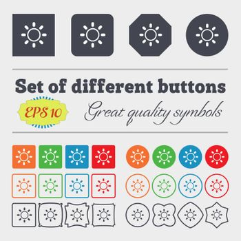 Brightness icon sign. Big set of colorful, diverse, high-quality buttons. Vector