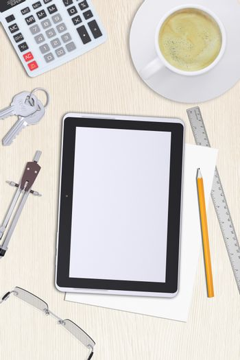 Tablet with divider on table