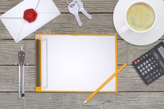 Folder with divider on table