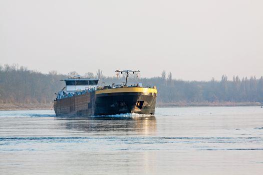 Bulk-carrier barge on waterway river Rhine