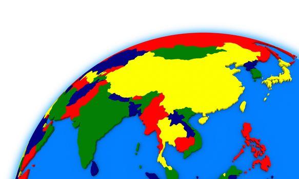 southeast Asia on globe political map