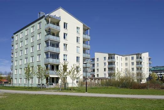 Modern apartment buildings in new neighborhood.