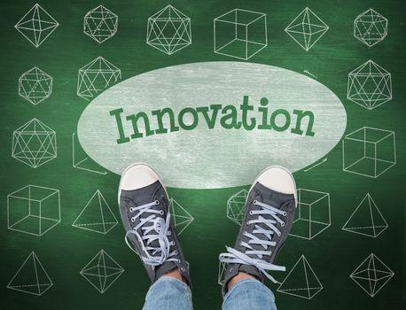 Innovation against green chalkboard