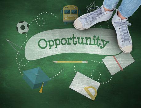 Opportunity against green chalkboard