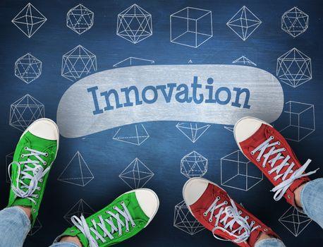 Innovation against blue chalkboard