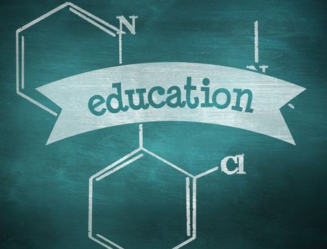 The word education and science formula against green chalkboard
