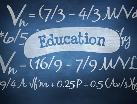 The word education and maths equation against blue chalkboard
