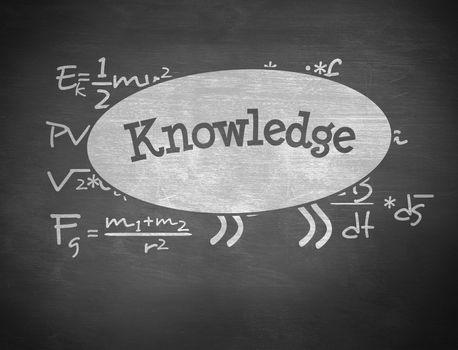 Knowledge against black background