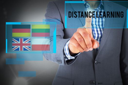 Distance learning against grey background