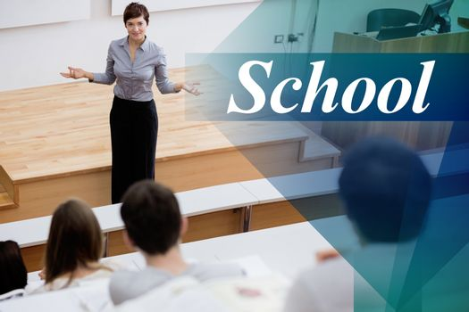 School against teacher standing talking to the students