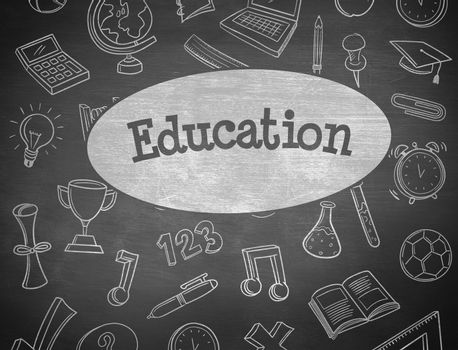 The word education and school doodles against black background