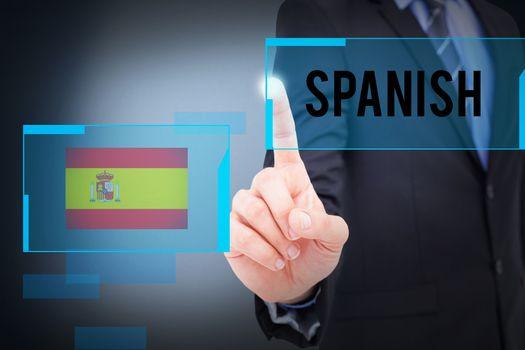 Spanish against blue background