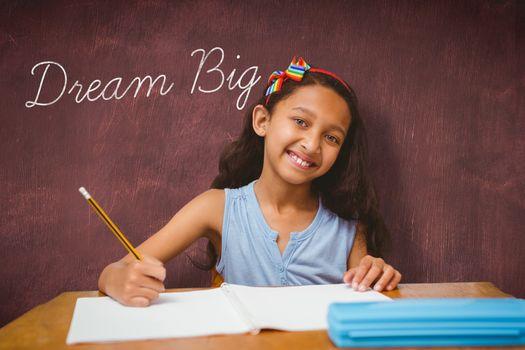 Dream big against desk