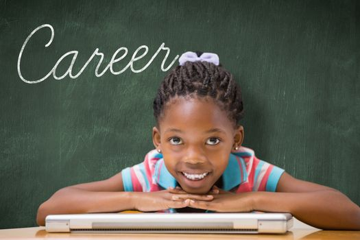 Career against green chalkboard