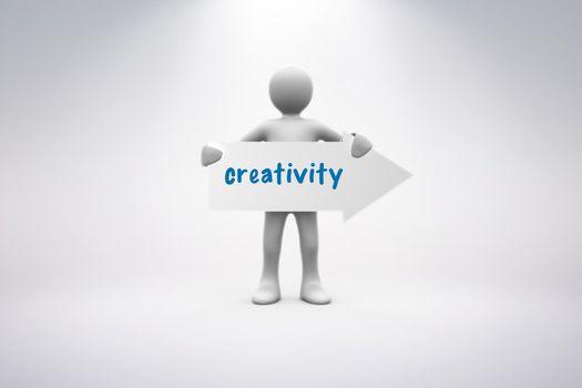 Creativity  against grey background
