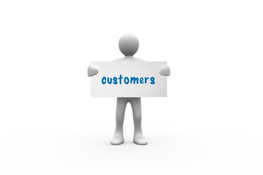 Customers  against white background with vignette