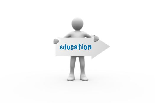 The word education and human representation holding arrow sign against white background with vignette