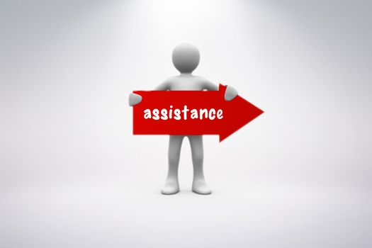 Assistance against grey background