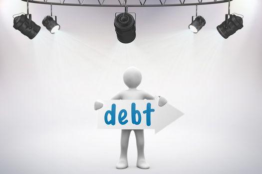 Debt against grey background