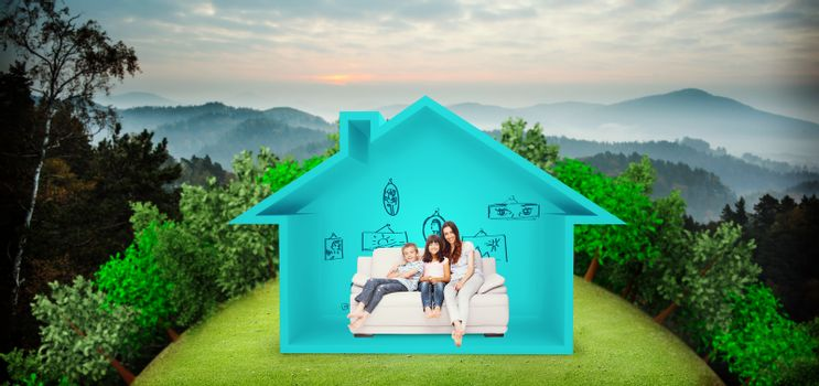 Composite image of mother with their children sitting on sofa