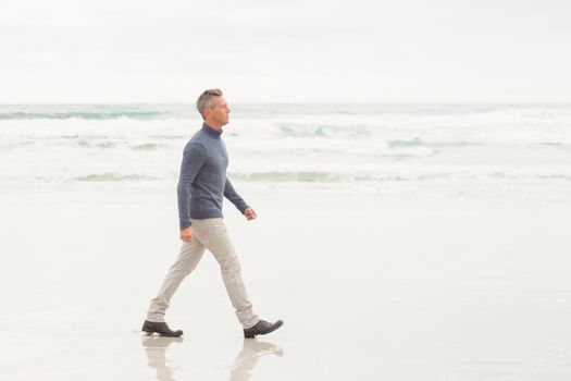 Man walking by the shore