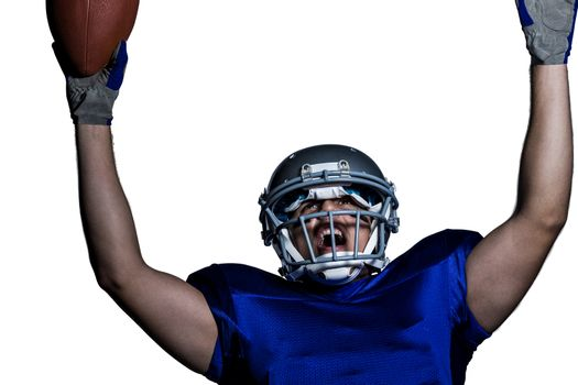 American football player in uniform cheering