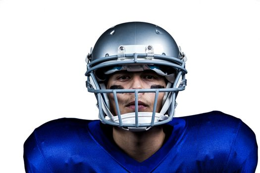 Portrait of determined American football player in uniform