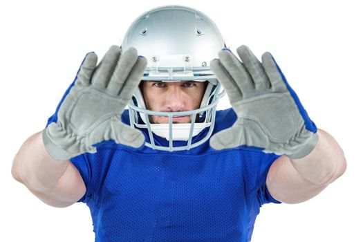 Portrait American football player defending