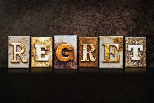 Regret Letterpress Concept on Dark Background