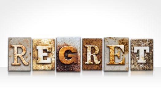 Regret Letterpress Concept Isolated on White