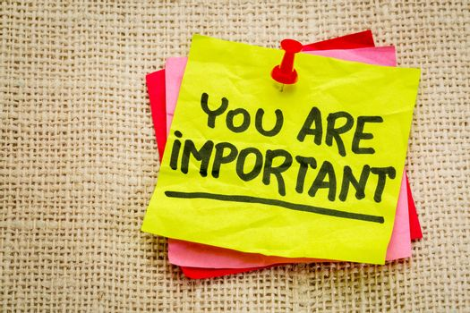 You are important reminder note - self assurance or positive confirmation concept