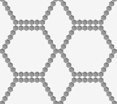 Perforated paper with hexagons forming hexagons