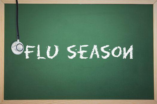 Flu season against chalkboard