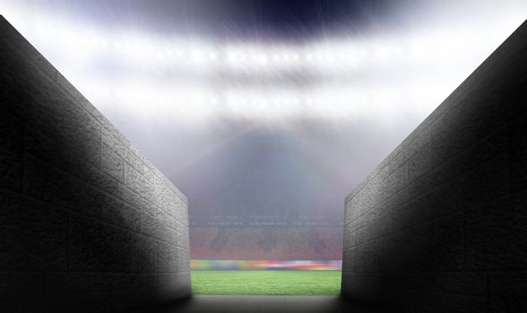 Composite image of arena tunnel