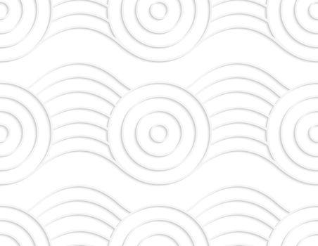 Paper white circles on bulging ribbon