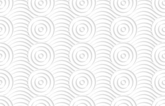 Paper white circles on bulging waves