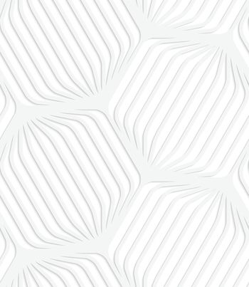 Paper white rounded striped hexagons
