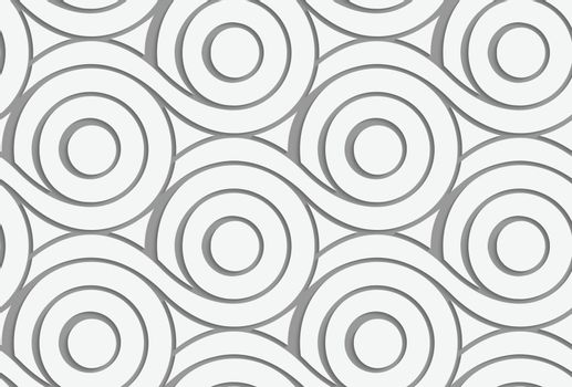 Perforated circles with merging tails