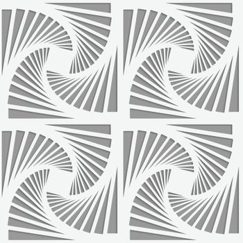 Perforated striped rotated triangular shapes