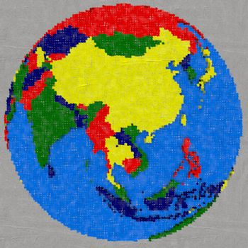 Drawing of southeast Asia on Earth