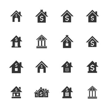 Icons set of banks. Vector illustration