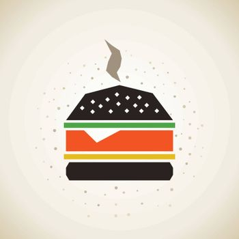 The Burger in the style of patchwork. Vector illustration