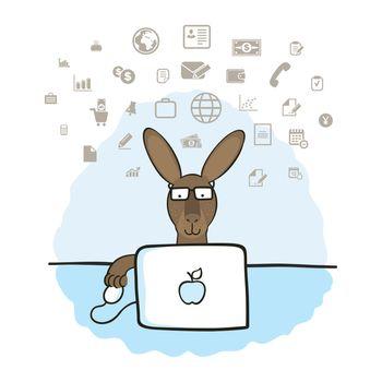 Kangaroo running on the computer. Vector illustration
