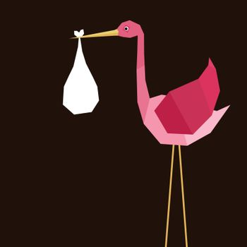 The pink stork bears the child. A vector illustration