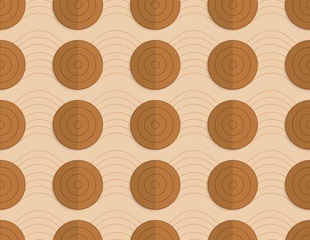 Retro fold brown circles on bulging waves