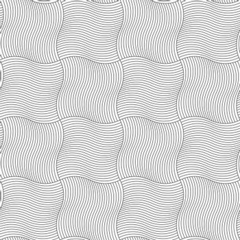 Gray seamless geometrical pattern. Simple monochrome texture. Abstract background.Slim gray wavy sriped squares.