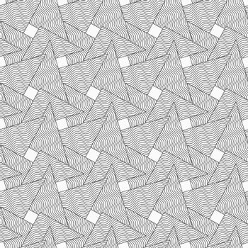 Gray seamless geometrical pattern. Simple monochrome texture. Abstract background.Slim gray wavy striped overlapping triangles.