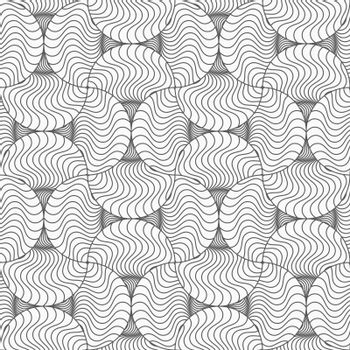 Gray seamless geometrical pattern. Simple monochrome texture. Abstract background.Slim gray wavy striped pin will.